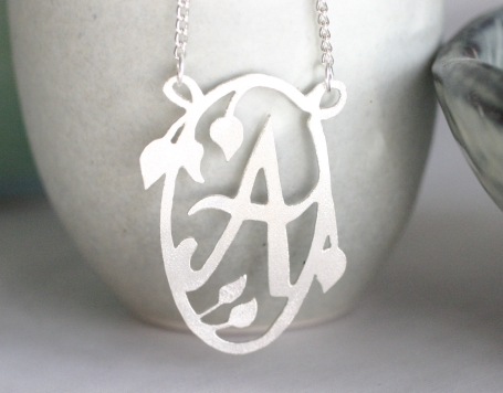 decorated initial necklace