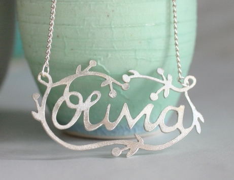 decorated name necklace