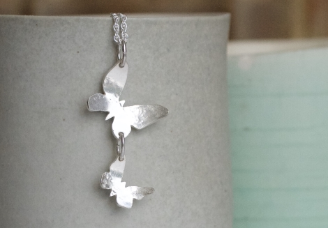 double butterfly silver pendant