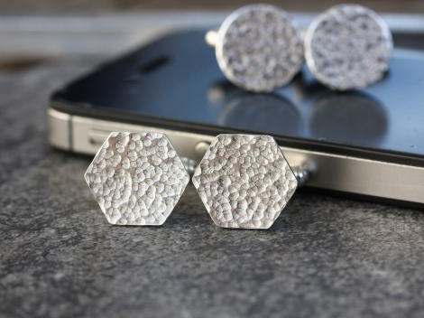 crosshatched silver hexagon cufflinks