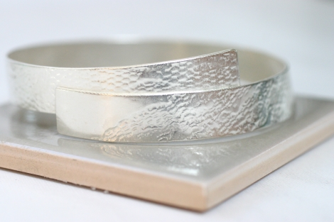 lace textured silver bangle - wide