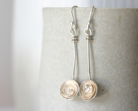 dangly wild rose earrings (long)