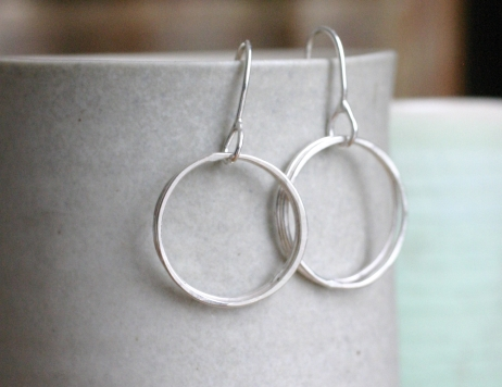 multi circle silver earrings (small)