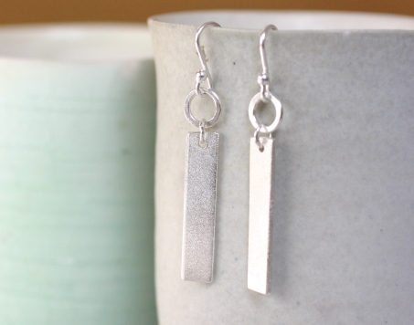 simple matt silver earrings
