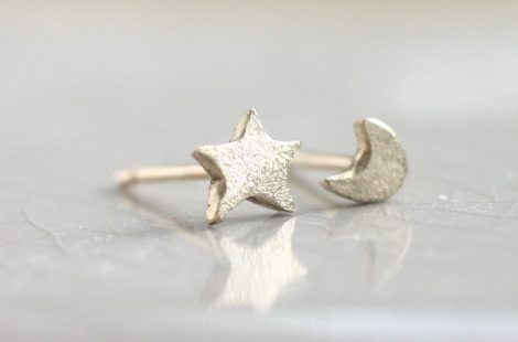 db5f28b6c tiny gold mismatched moon and star earrings jemima lumley jewellery