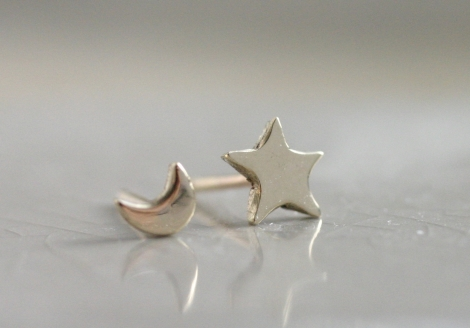 tiny gold moon and star stud earrings  (shiny)
